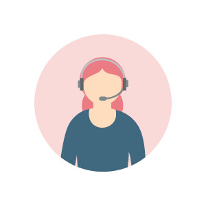 Icon showing woman with headset